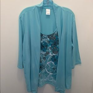 Blair teal and brown blouse